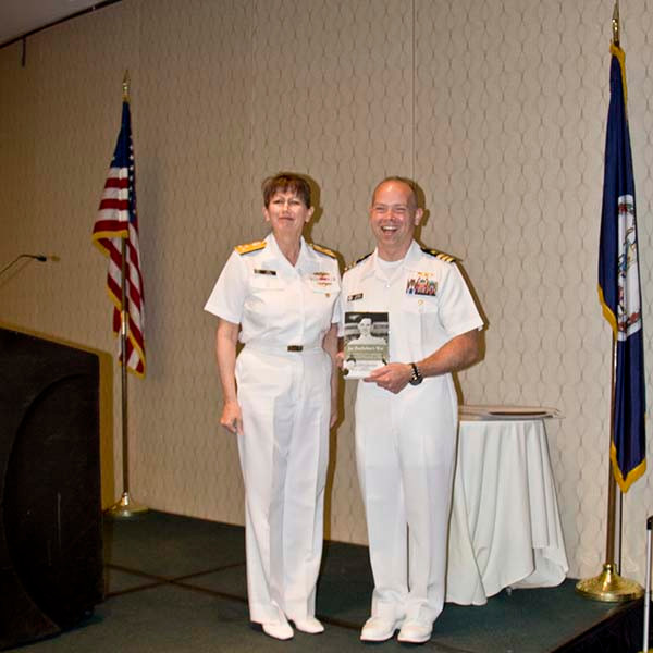 2016 CAPT Rochefort Leadership award: CDR Michael C. Elliot with VADM Tighe