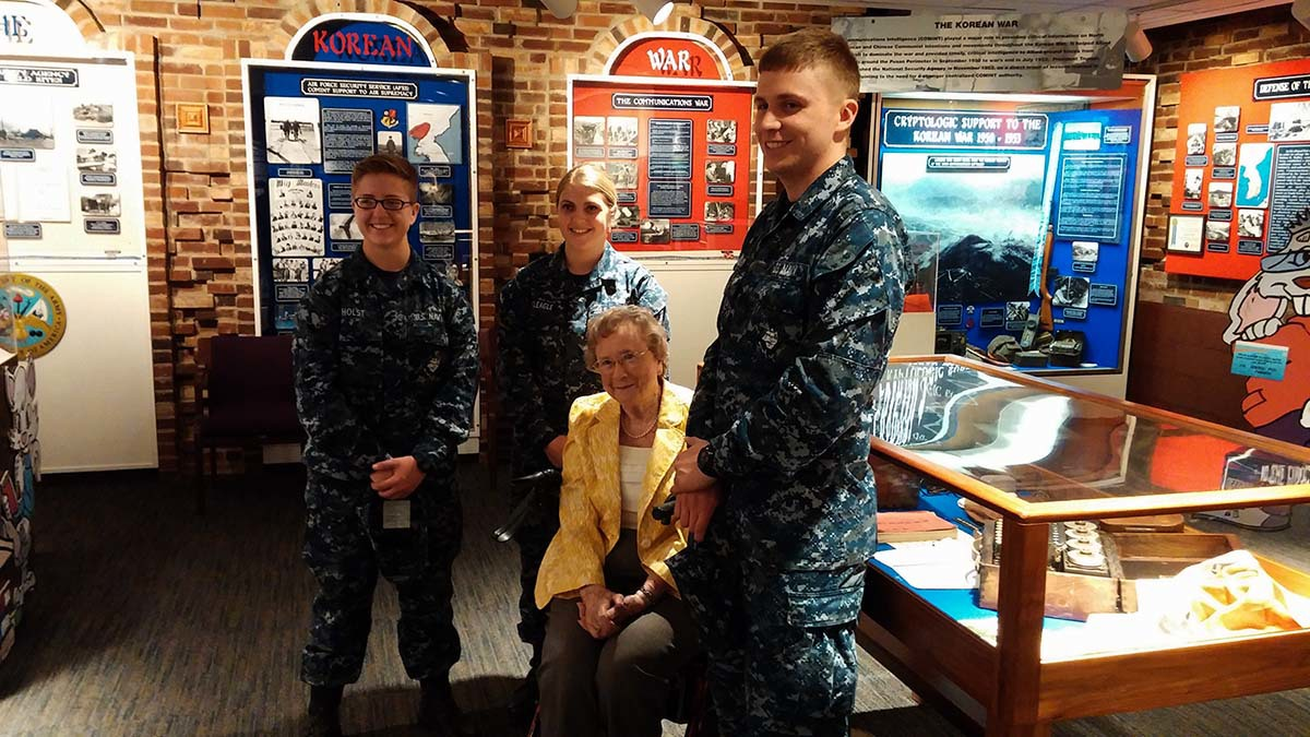 Ms. Bryant with young Navy Cryptologists